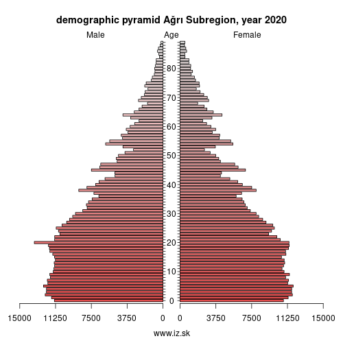 demographic pyramid TRA2 Ağrı Subregion