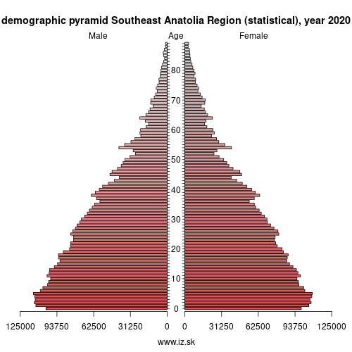 demographic pyramid TRC Southeast Anatolia Region (statistical)