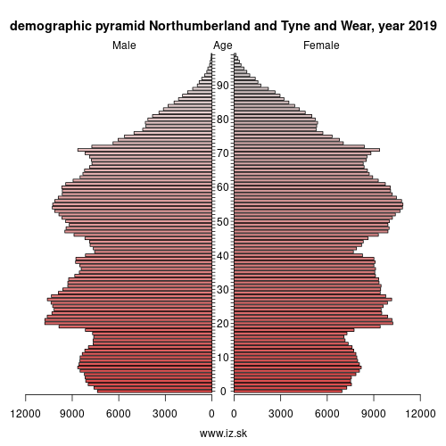 demographic pyramid UKC2 Northumberland and Tyne and Wear
