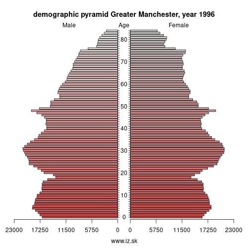 demographic pyramid UKD3 1996 Greater Manchester