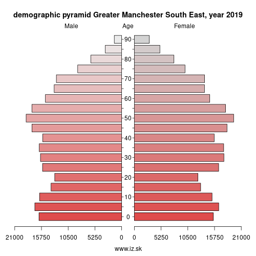 demographic pyramid UKD35 Greater Manchester South East