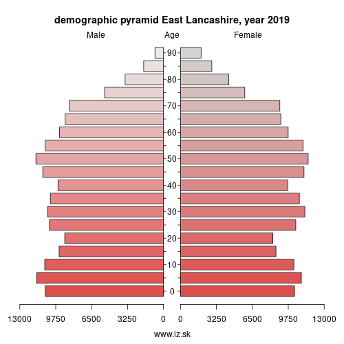 demographic pyramid UKD46 East Lancashire