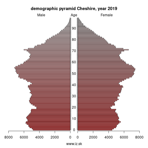 demographic pyramid UKD6 Cheshire