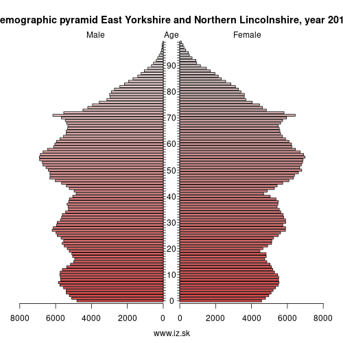 demographic pyramid UKE1 East Yorkshire and Northern Lincolnshire