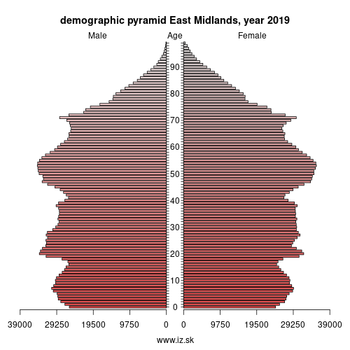 demographic pyramid UKF East Midlands