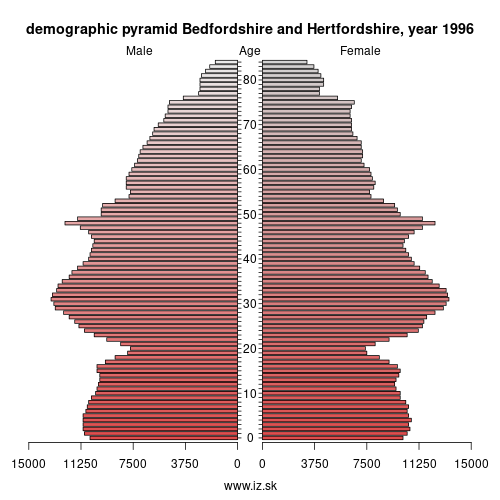 demographic pyramid UKH2 1996 Bedfordshire and Hertfordshire