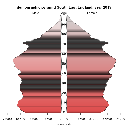 demographic pyramid UKJ South East England