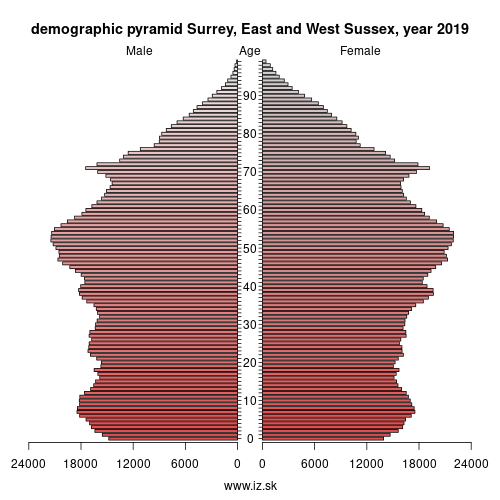 demographic pyramid UKJ2 Surrey, East and West Sussex