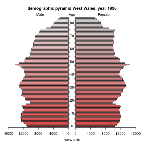 demographic pyramid UKL1 1996 West Wales