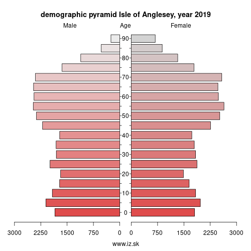 demographic pyramid UKL11 Isle of Anglesey