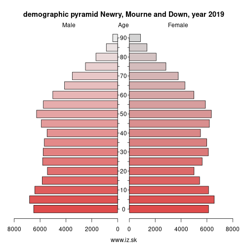 demographic pyramid UKN08 Newry, Mourne and Down