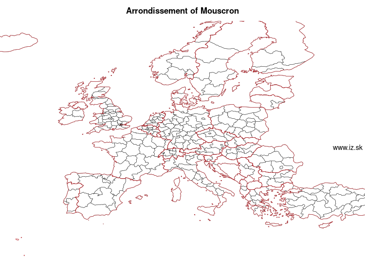 map of Arrondissement of Mouscron BE324