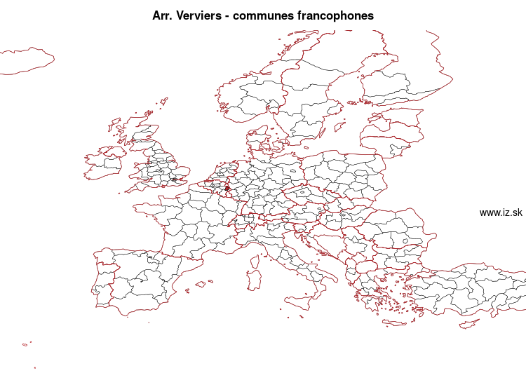 map of Arr. Verviers – communes francophones BE335