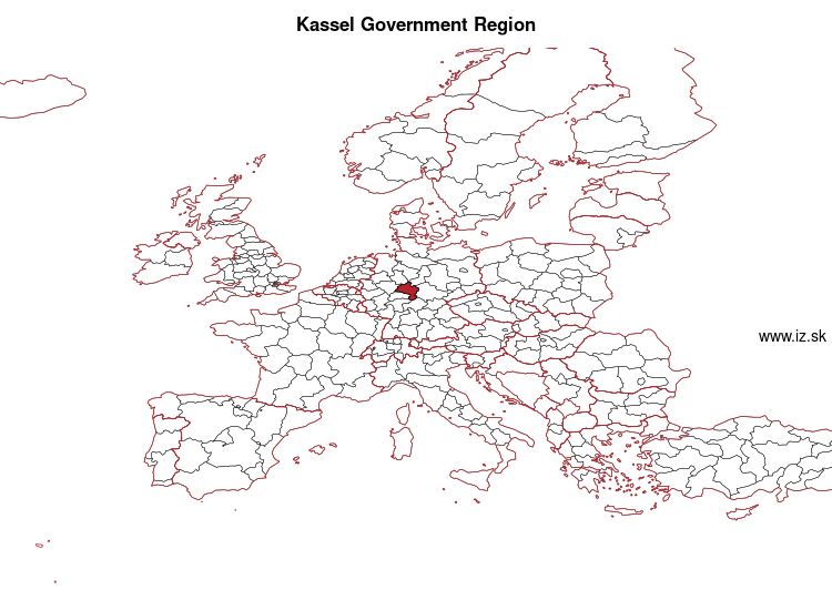 map of Kassel Government Region DE73