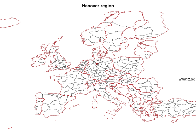 map of Hanover region DE929