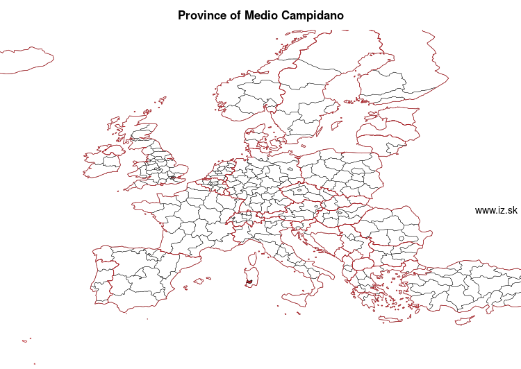 map of Province of Medio Campidano ITG2B