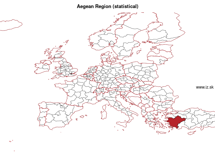 map of Aegean Region (statistical) TR3