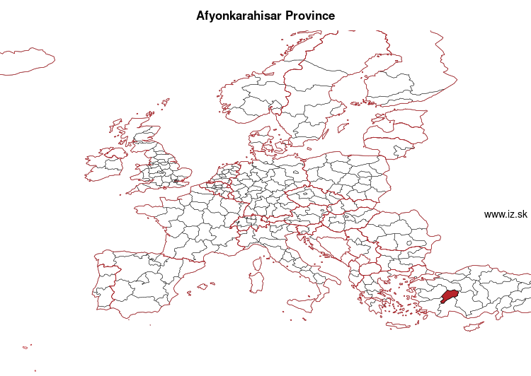 map of Afyonkarahisar Province TR332