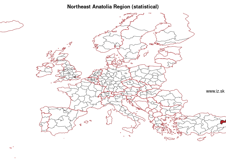 map of Northeast Anatolia Region (statistical) TRA