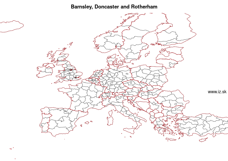 map of Barnsley, Doncaster and Rotherham UKE31