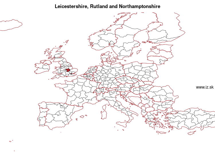 map of Leicestershire, Rutland and Northamptonshire UKF2