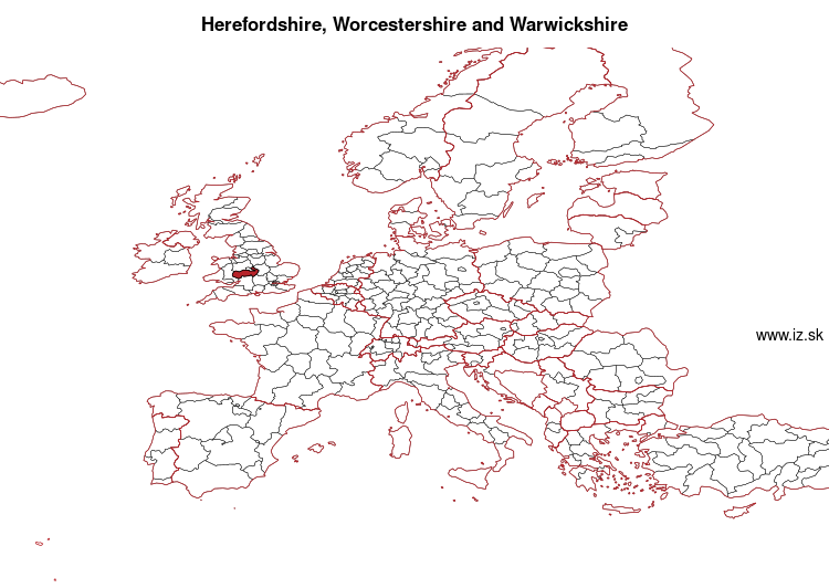 map of Herefordshire, Worcestershire and Warwickshire UKG1