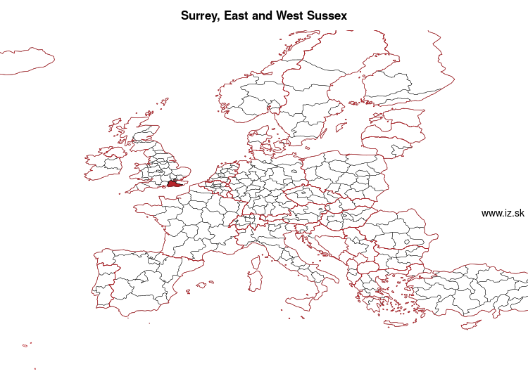 map of Surrey, East and West Sussex UKJ2