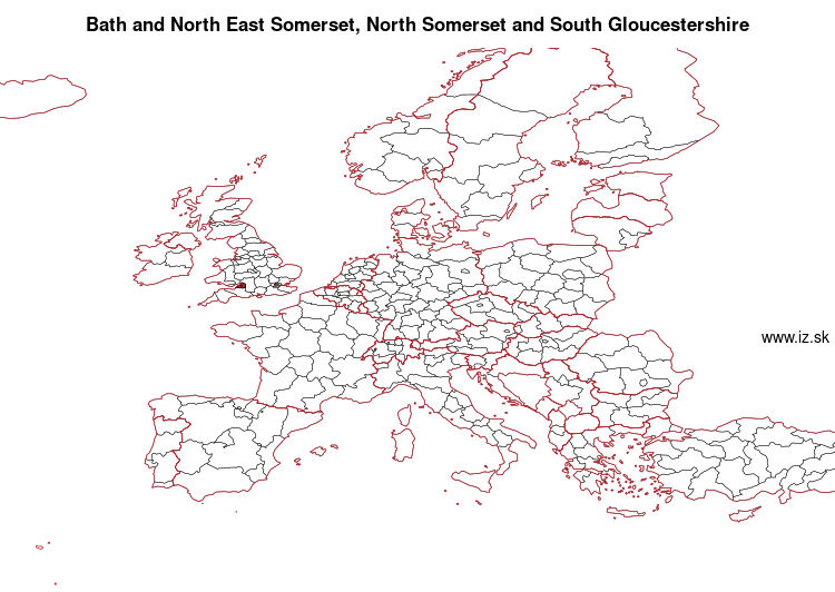 map of Bath and North East Somerset, North Somerset and South Gloucestershire UKK12