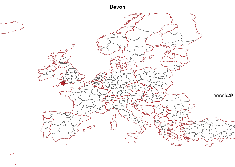 map of Devon UKK43