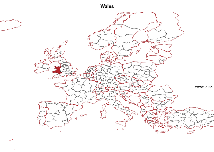 map of Wales UKL