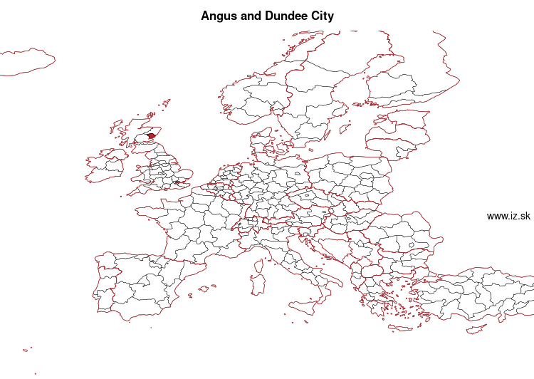 map of Angus and Dundee City UKM71