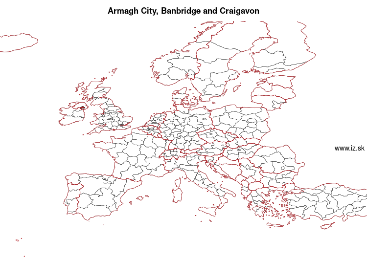 map of Armagh City, Banbridge and Craigavon UKN07