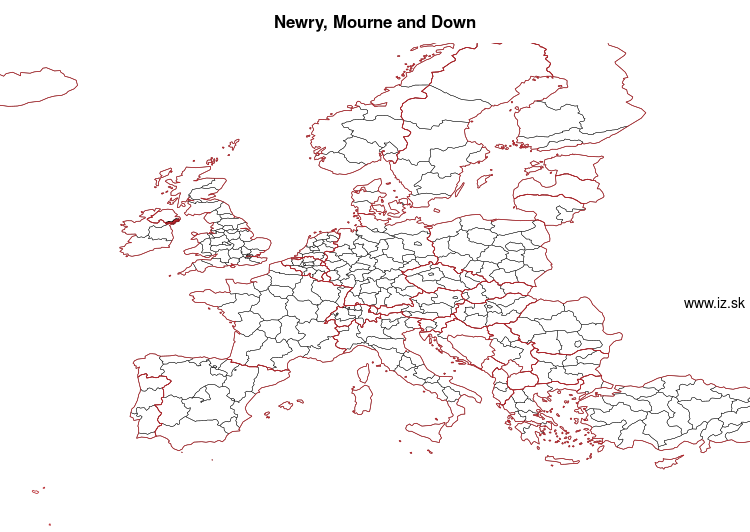 map of Newry, Mourne and Down UKN08