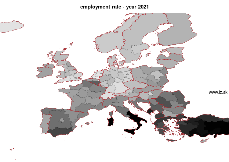 mapa vyvoja Employment rate NUTS 1 v nuts 1