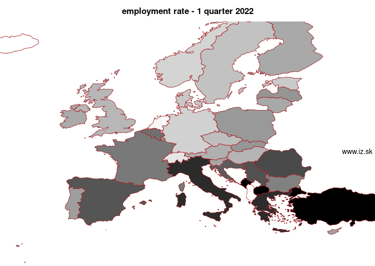 mapa vyvoja Employment rate v nuts 0