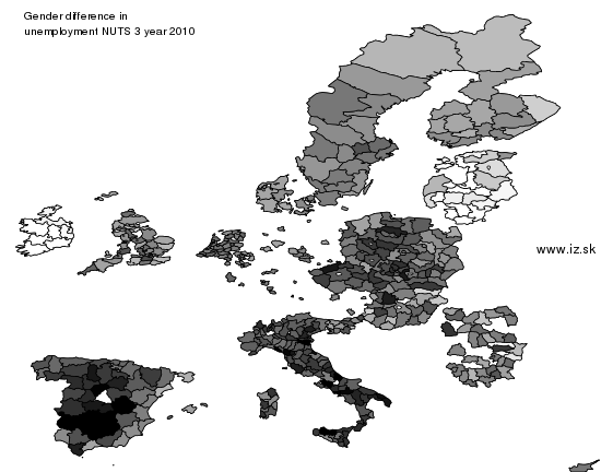mapa vyvoja Gender difference in unemployment NUTS 3 v nuts 3