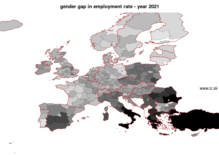 map gender gap in employment rate in nuts 2