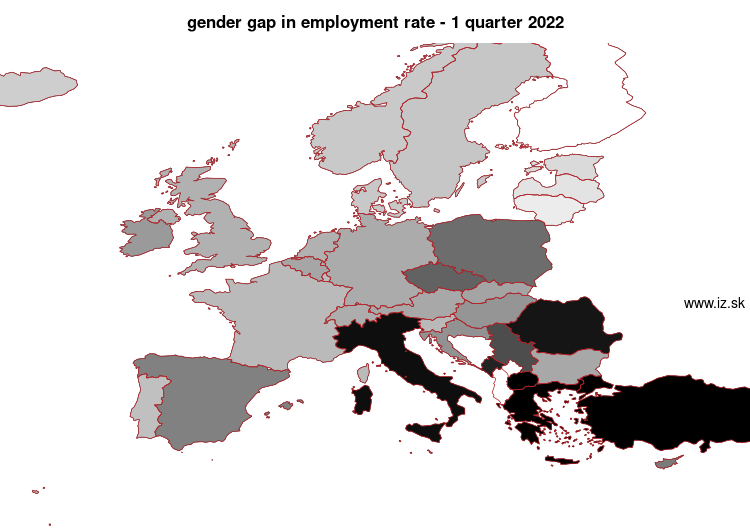 map gender gap in employment rate in nuts 0