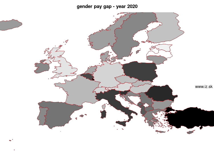 map gender pay gap in nuts 0