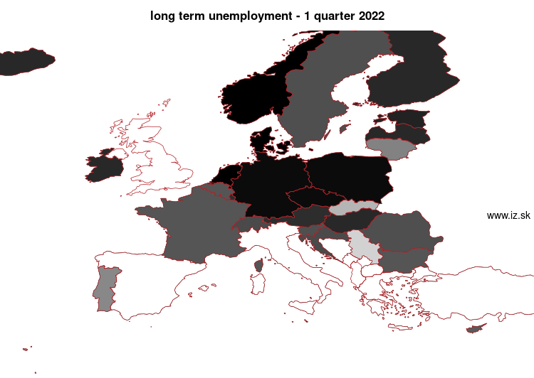 mapa vyvoja long term unemployment v nuts 0