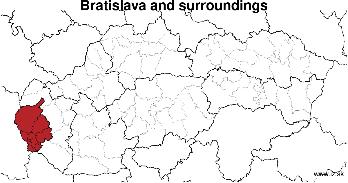 map of region Bratislava and surroundings