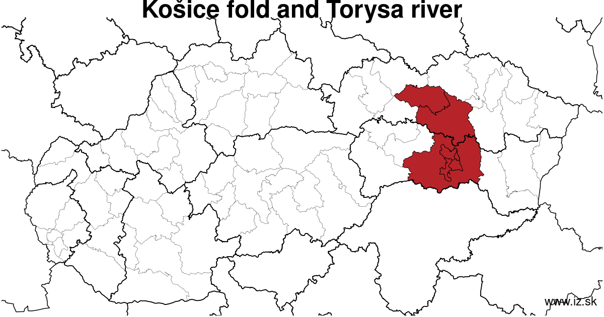 map of region Košice fold and Torysa river