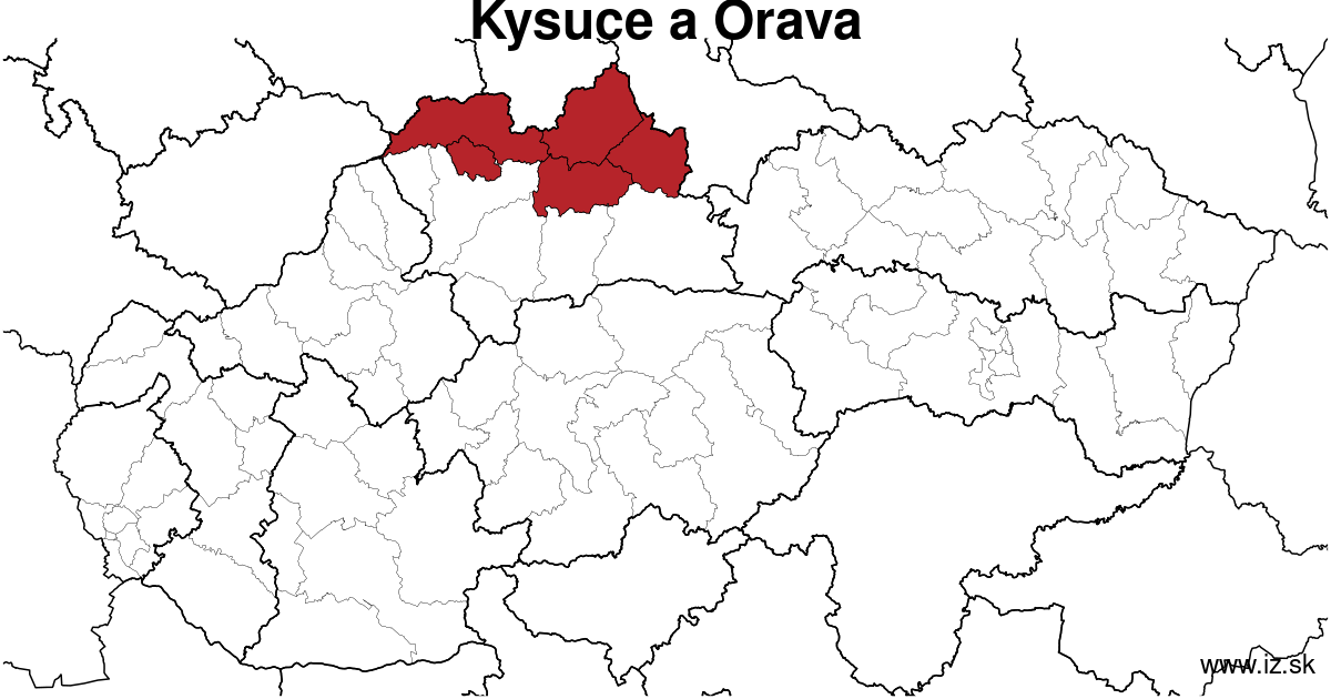 map of region Kysuce a Orava