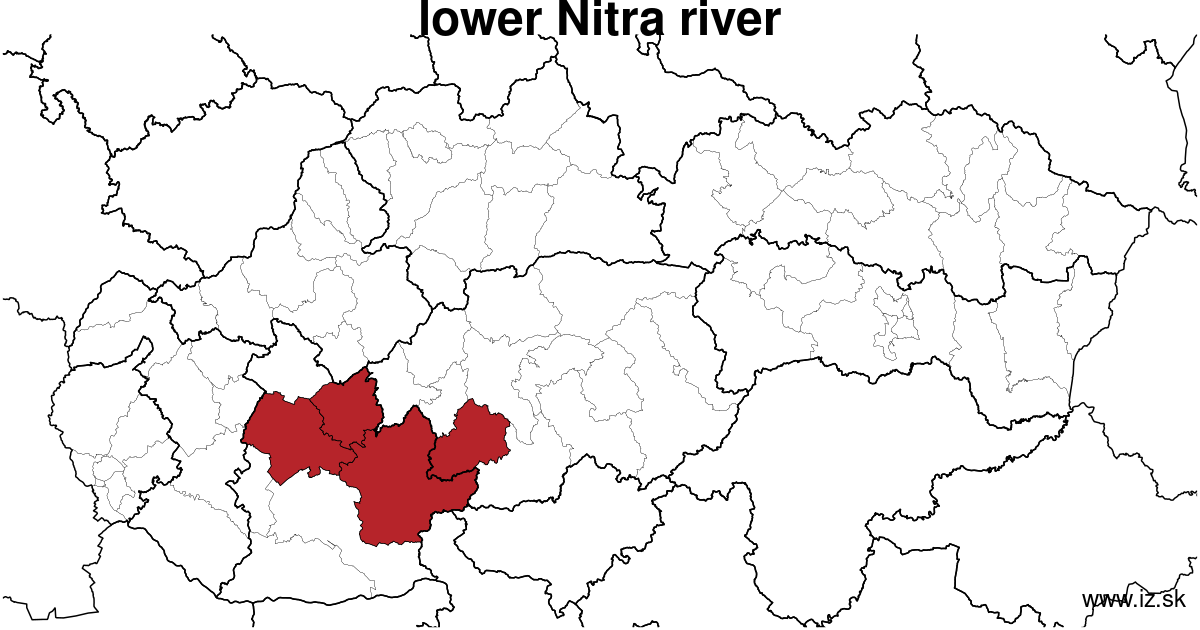 map of region lower Nitra river