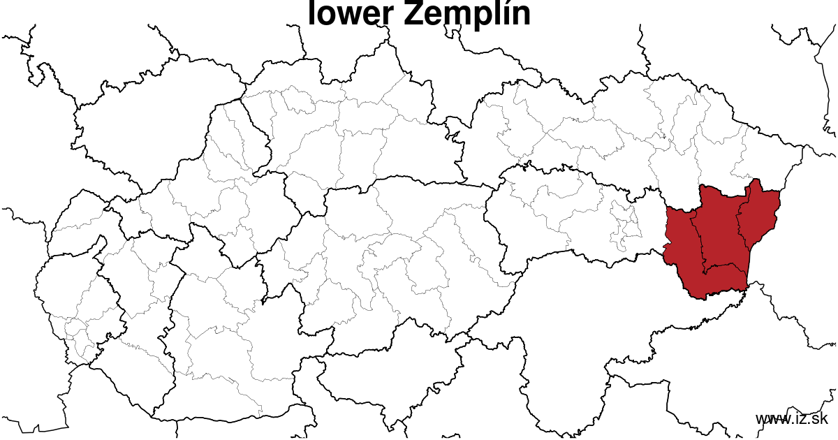 map of region lower Zemplín