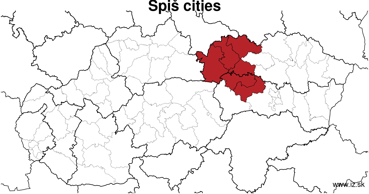 map of region Spiš cities