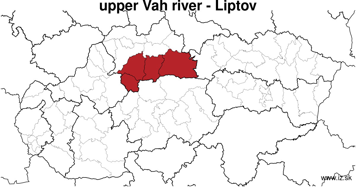 map of region upper Vah river - Liptov