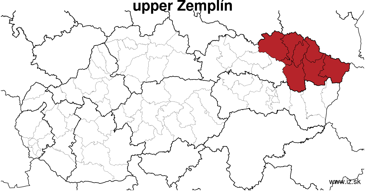 map of region upper Zemplín