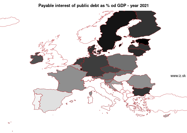 map Payable interest of public debt as % od GDP in nuts 0