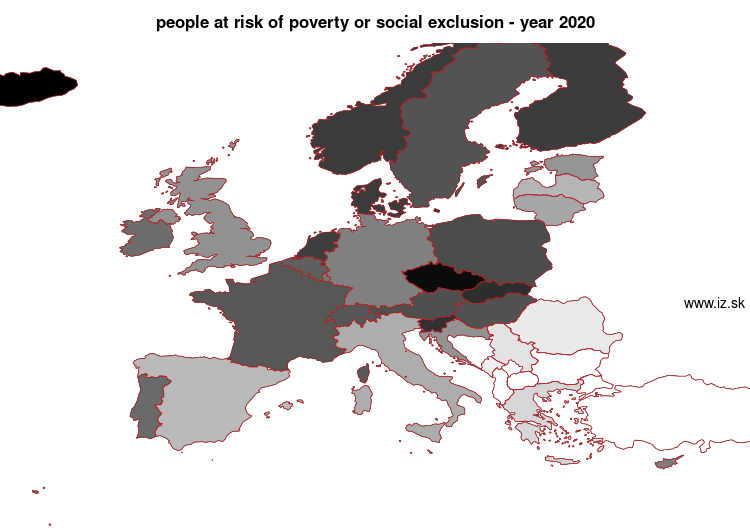 map people at risk of poverty or social exclusion in nuts 0